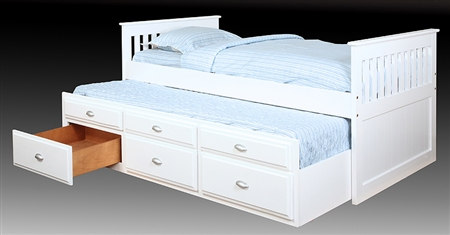 Captains Bed With Trundle And Storage White (m) $395.99