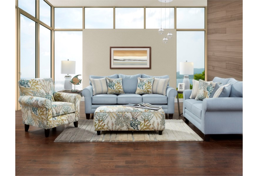 1140 Fusion Labyrinth Sky Sofa and Loveseat $1195