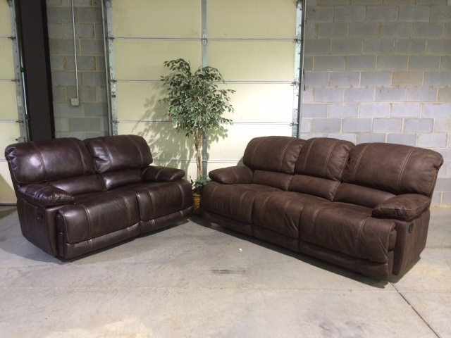8698 Motion Sofa and Love in Leatheraire and Suede $1259.9