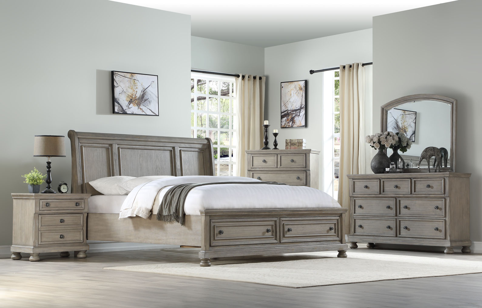 1070 King 6 Piece Bedroom Set - Prescott Grey Bedroom $1729