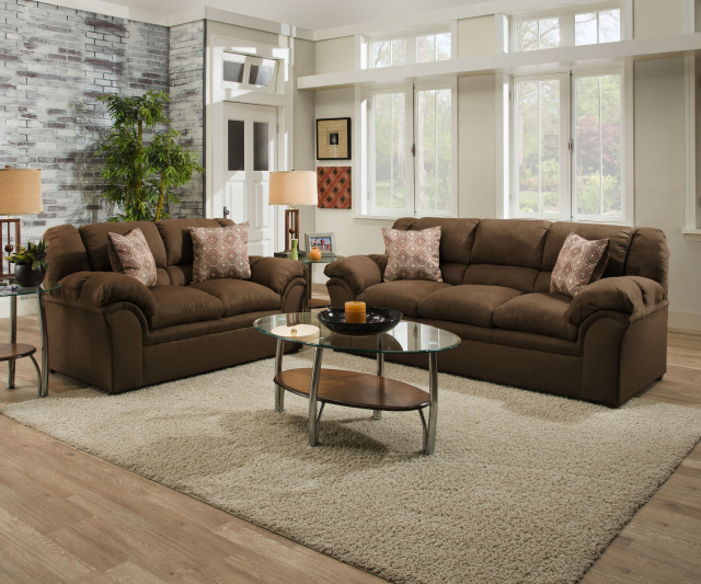 1720 Sofa and Loveseat in Venture Latte and Chocolate $795