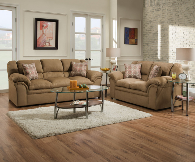 1720 Sofa and Loveseat in Venture Latte and Chocolate15 $795