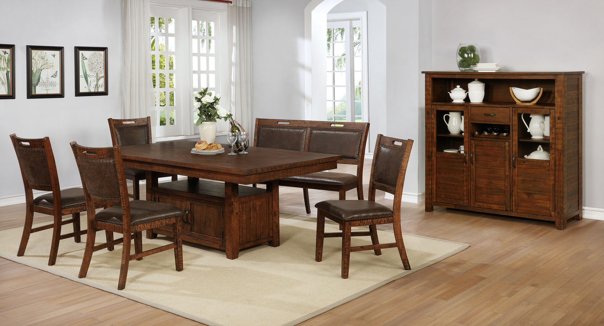 1842 Jonah 6pc Dining Collection: 7pc Set - Table & 6 Chairs $959.99