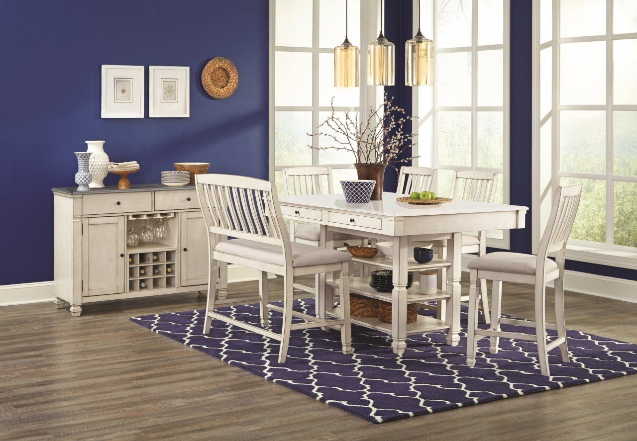 1735 Pub Height Dining Collection - Tables 4 Stools w/Bench $879.99