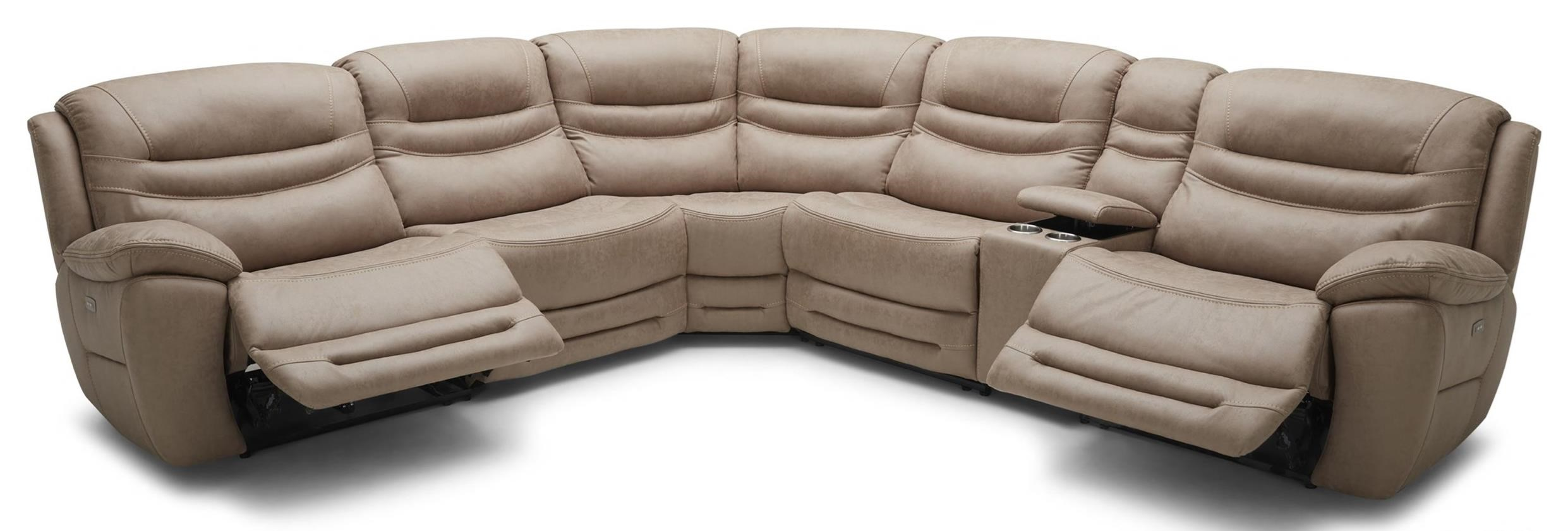 083 Motion Reclining Sectional Sofa With 4 USB, 2 Power Ports In Cupholder - Splash Tan  $2195
