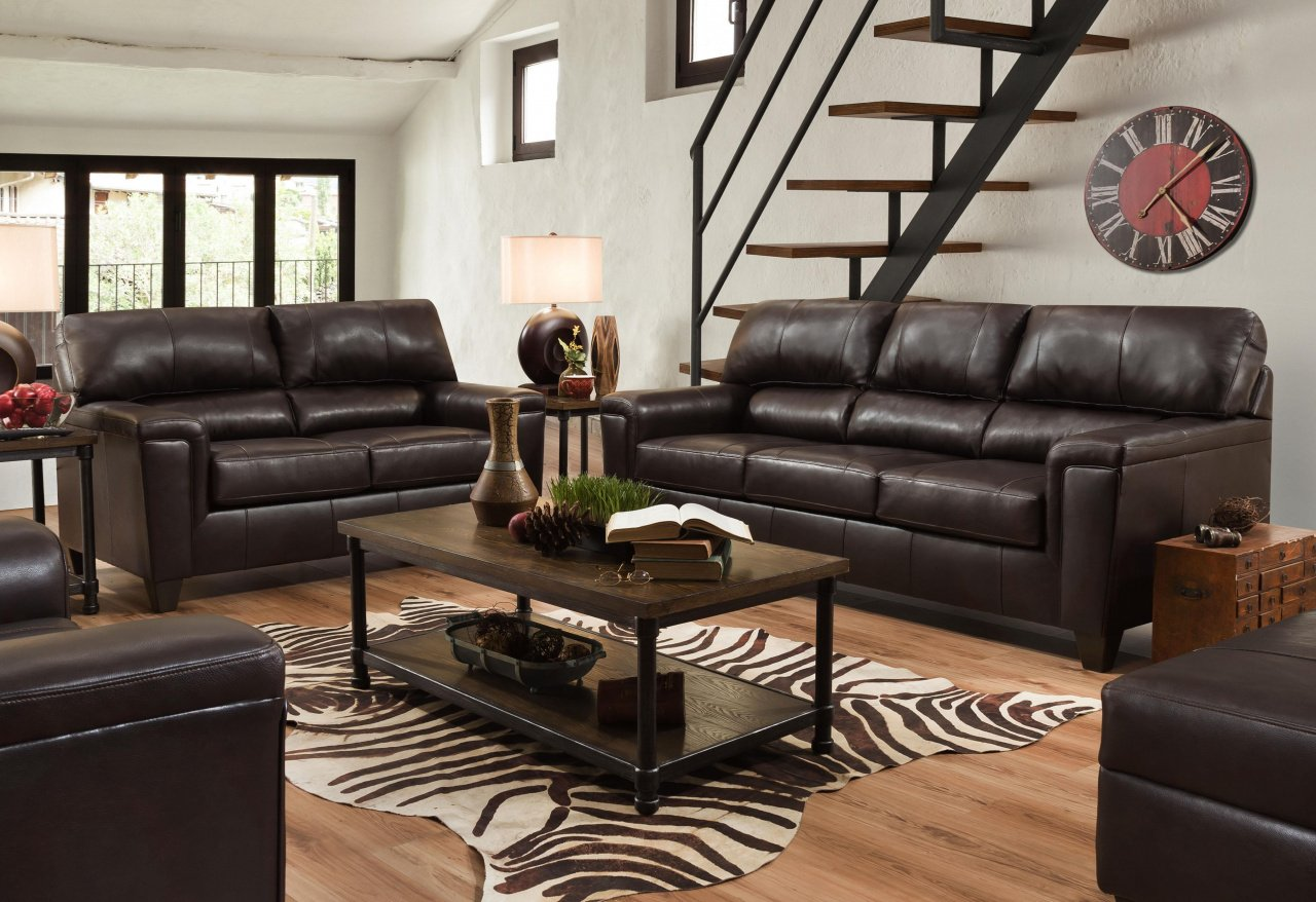 12038 - LEATHER Touch Sofa and Love in Soft Touch Bark $1389