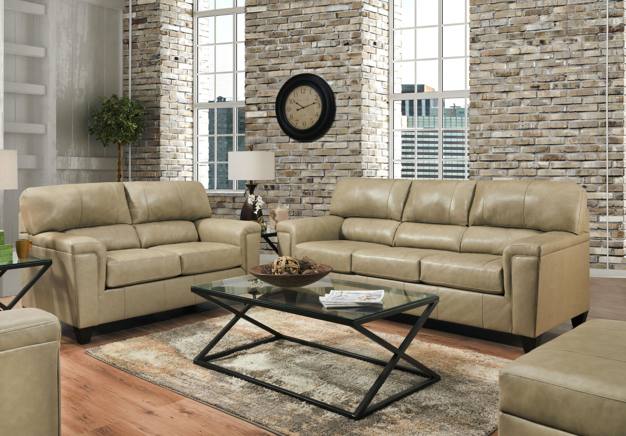 12038 - LEATHER Touch Sofa and Love in Soft Touch-Soft Touch Putty $1389