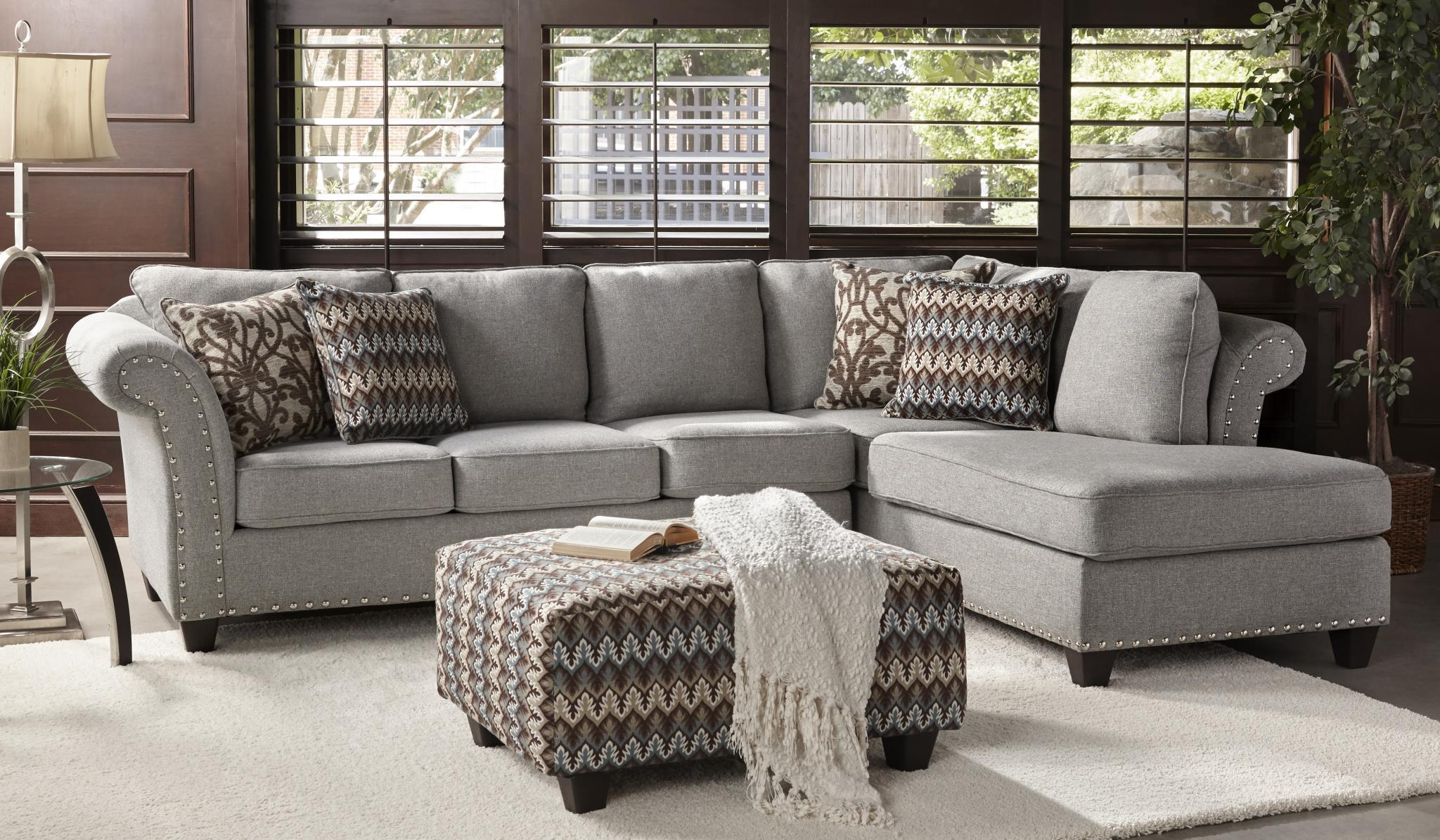 2350 2 Piece Sectional Sofa with Chaise  With Silver Nailhead Accents and Toss Pillows Included $998.99