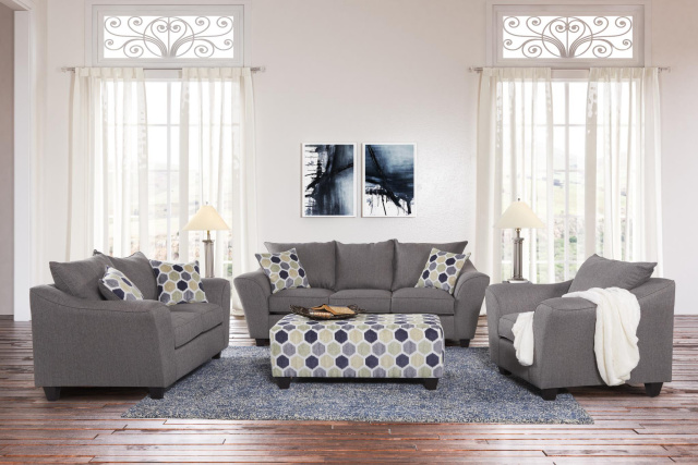 1075 Flaired Arm Sofa and Loveseat in Heritage Gray $995