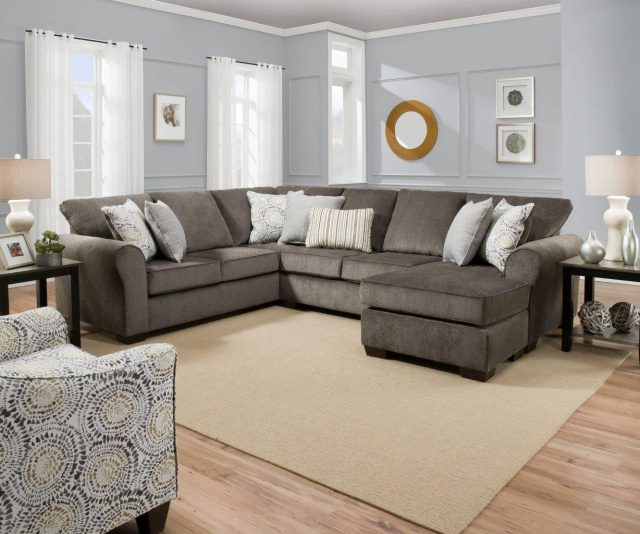 1657 Sectional in Harlow Ash Grey Linen- with Reversible Chaise $1099