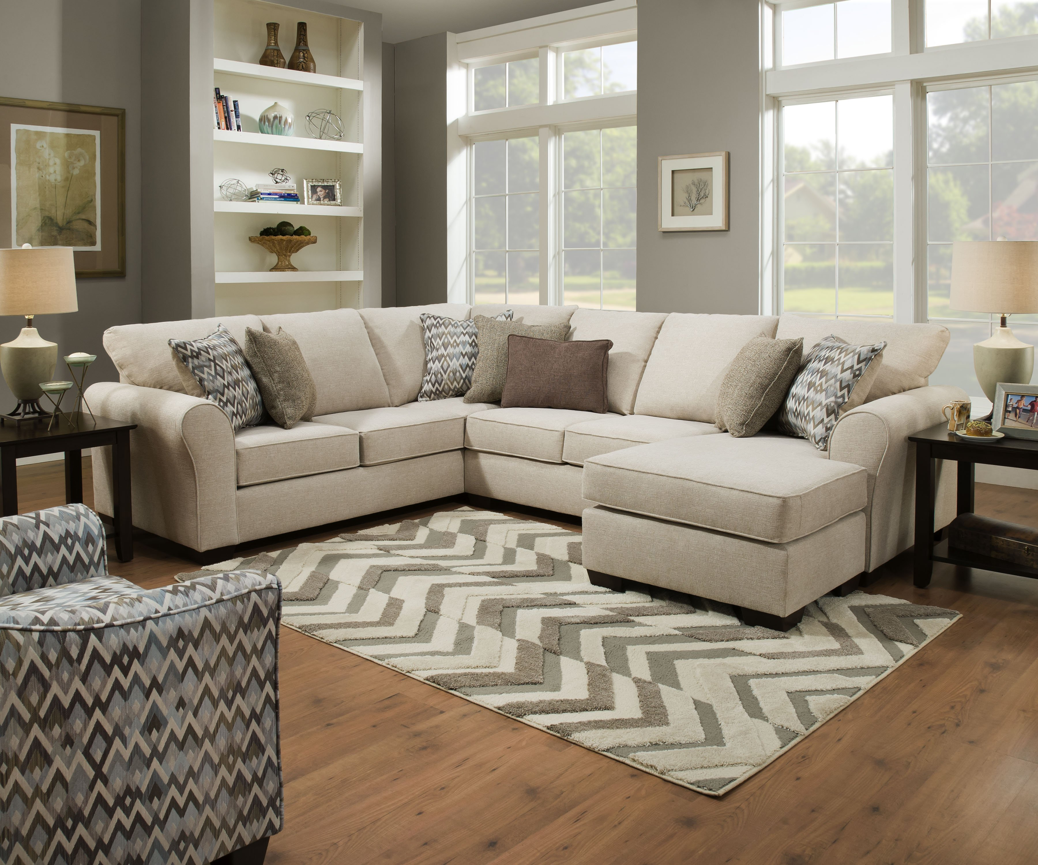 1657 Sectional in Boston Linen- with Reversible Chaise $1099