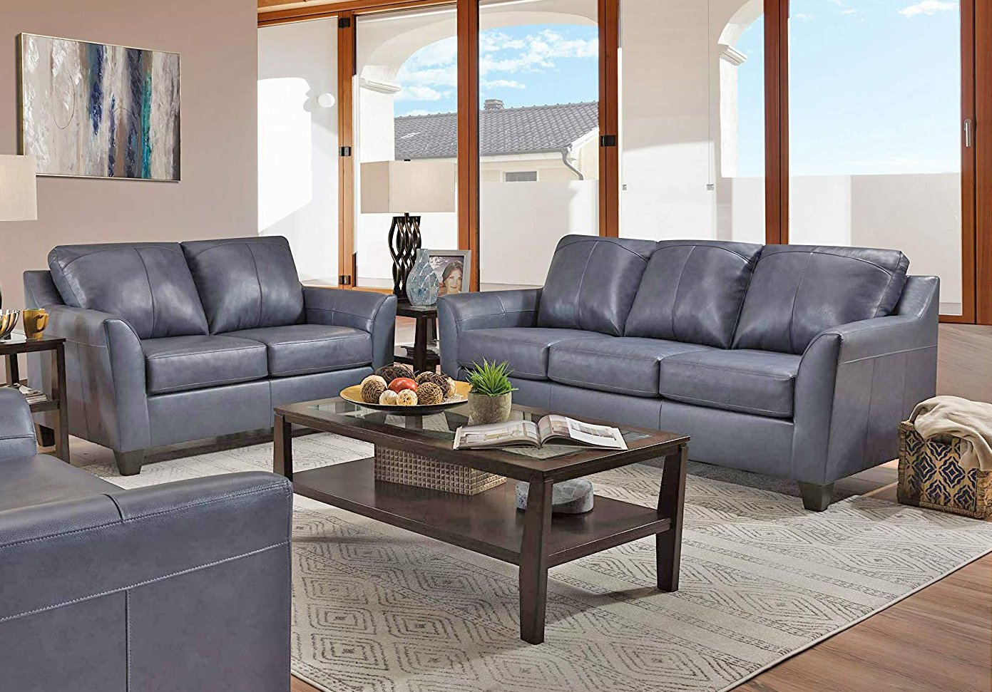 12029 LEATHER Touch Sofa and Loveseat in Soft Touch Fog  $889