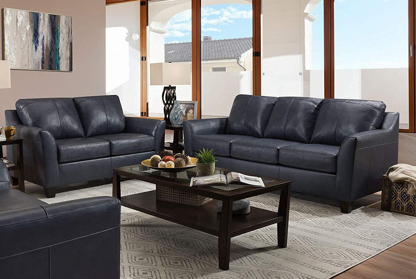 12029 LEATHER Touch Sofa and Loveseat in Soft Touch Soft Shale $889