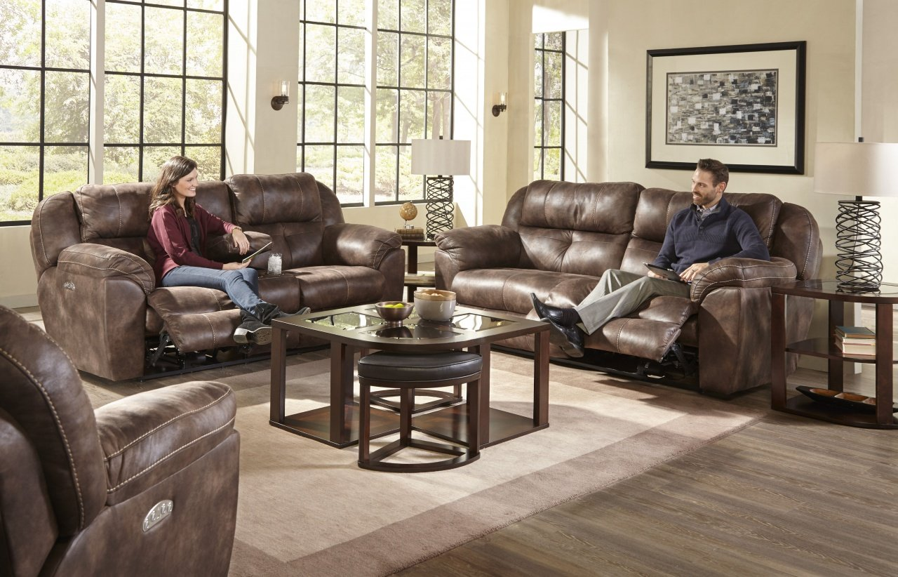 189 Power Seat and Power Headrest (Ferrington) Sofa and Console Loveseat in Dusk Brown Color $1859.99