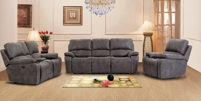 6522 Silver Nailhead Trim Motion Sofa and Double Gliding Console Loveseat $1559
