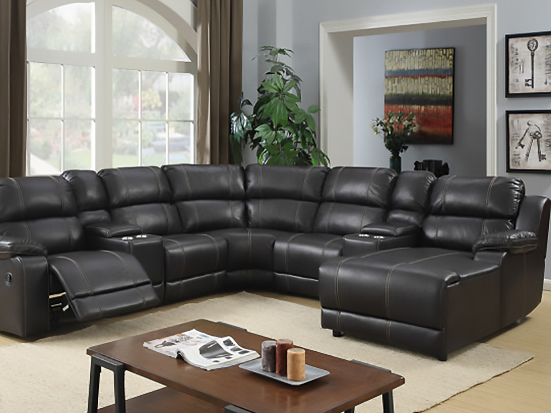 2212 Motion Sectional in Angus Walnut Breathable - 2 Recliners, Push Back Chaise and 2 Consoles $1698